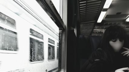 black & white train people travel spring