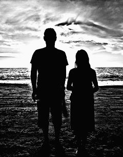 beach black & white hdr people