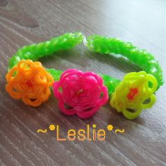 bracelet loom colorful flower lesliecreation cute