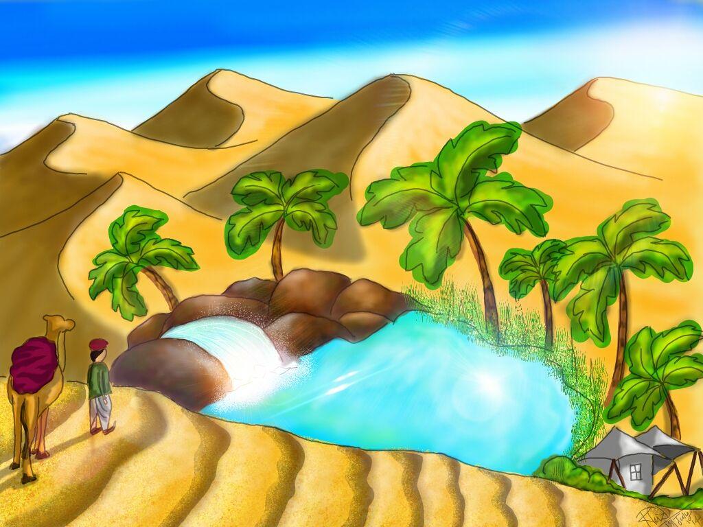 desert oasis drawing - photo #19