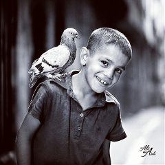 people portrait boy birds blackandwhite