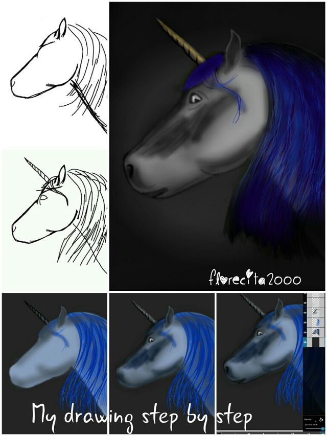 unicorn drawing steps
